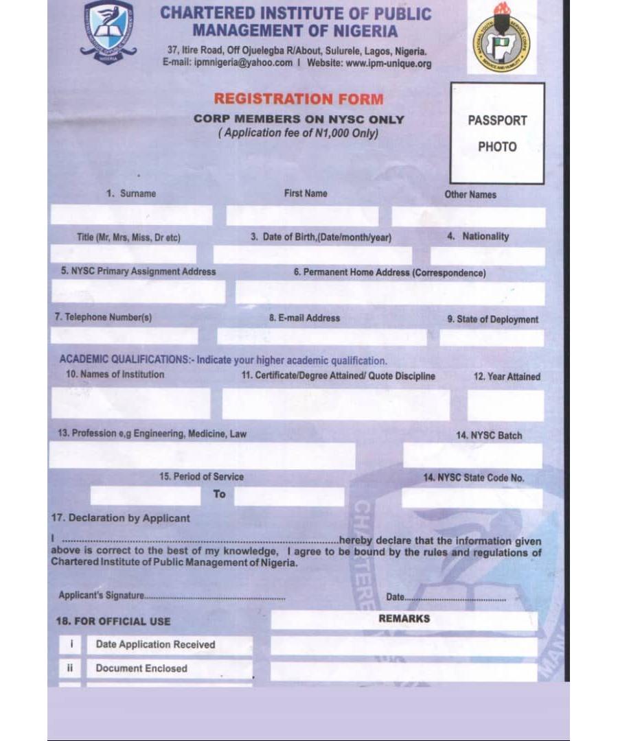 NYSC Membership Form